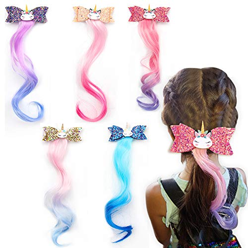 Unicorn Glitter Hair Bows Princess Dress Up Braided Curly Wig Hair Extension for Kids Costume Hair Accessories 5pcs