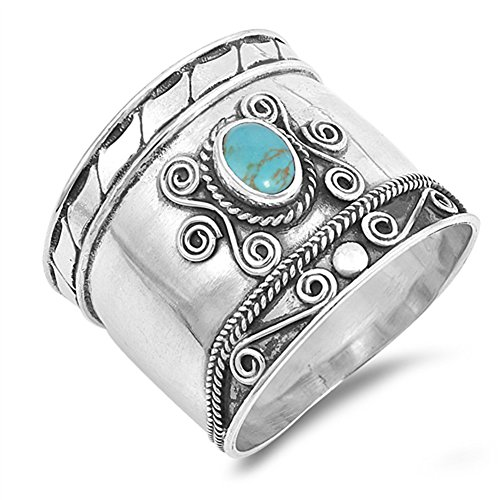 Simulated Turquoise Boho Bali Bead Dot Handmade Ring .925 Sterling Silver Band Size 9