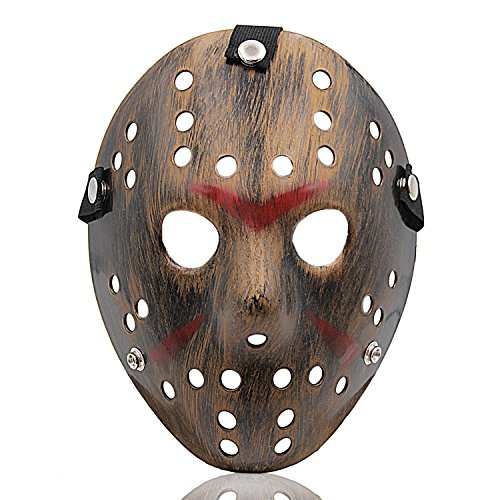 Hard Plastic Mask - ALIZIWAY Costume Mask Halloween Costume Cosplay Hockey Mask Copper 01C