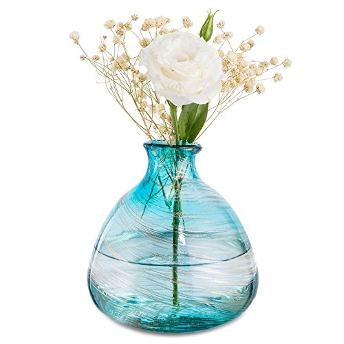 Vase Bud Glass Art (Mkono Blue Bud Vase Glass Wedding Flower Vase Hand Blown Art for Home Decor)