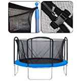"Black 14-foot Trampoline Enclosure Safety Net Replacement 71"" Height w/ Mesh Screen Netting Zipper Adjustable Strap Buckle Closures Durable for Outdoor Rebounder"