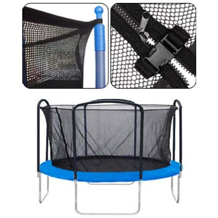 "Black 14-foot Trampoline Enclosure Safety Net Replacement 71"" Height w/ Mesh Screen Netting Zipper Adjustable Strap Buckle Closures Durable for Outdoor Rebounder by LeeMas Inc"