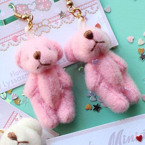 Kawaii Pink Pastel Teddy Bear Dangle Earrings