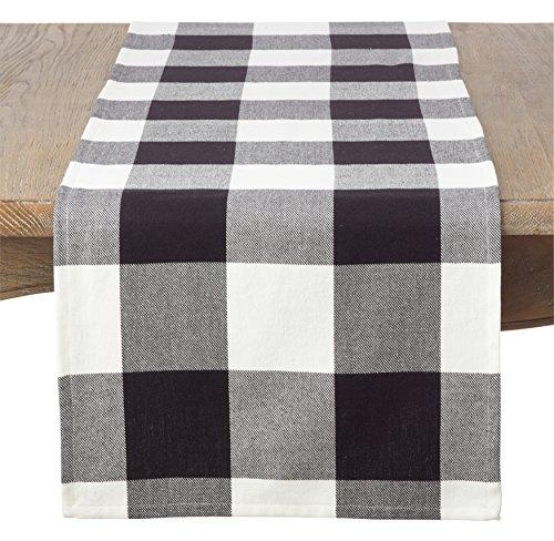SARO LIFESTYLE Classic Buffalo Plaid Design Cotton Table Runner, 16