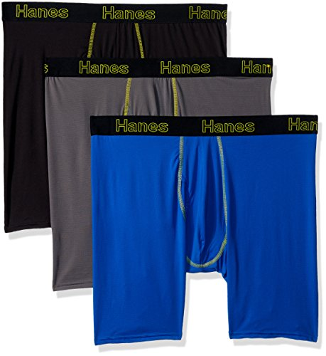 Hanes Men's 3-Pack Comfort Flex Fit Lightweight Mesh Longleg Boxer Brief, Assorted, X-Large (Compression Fit Boxer Briefs)