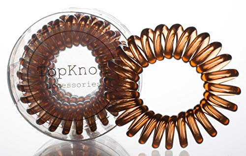Clear Braid Brown - TopKnot Accessories - Hair Loop (Chestnut Brown) - 3 Pack