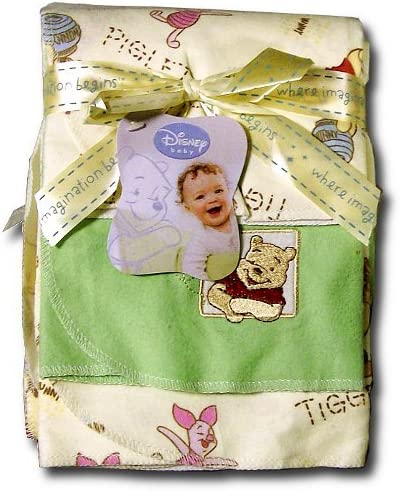Disney Baby Boy Girl Winnie the Pooh cotton flannel receiving blanket 2p Set