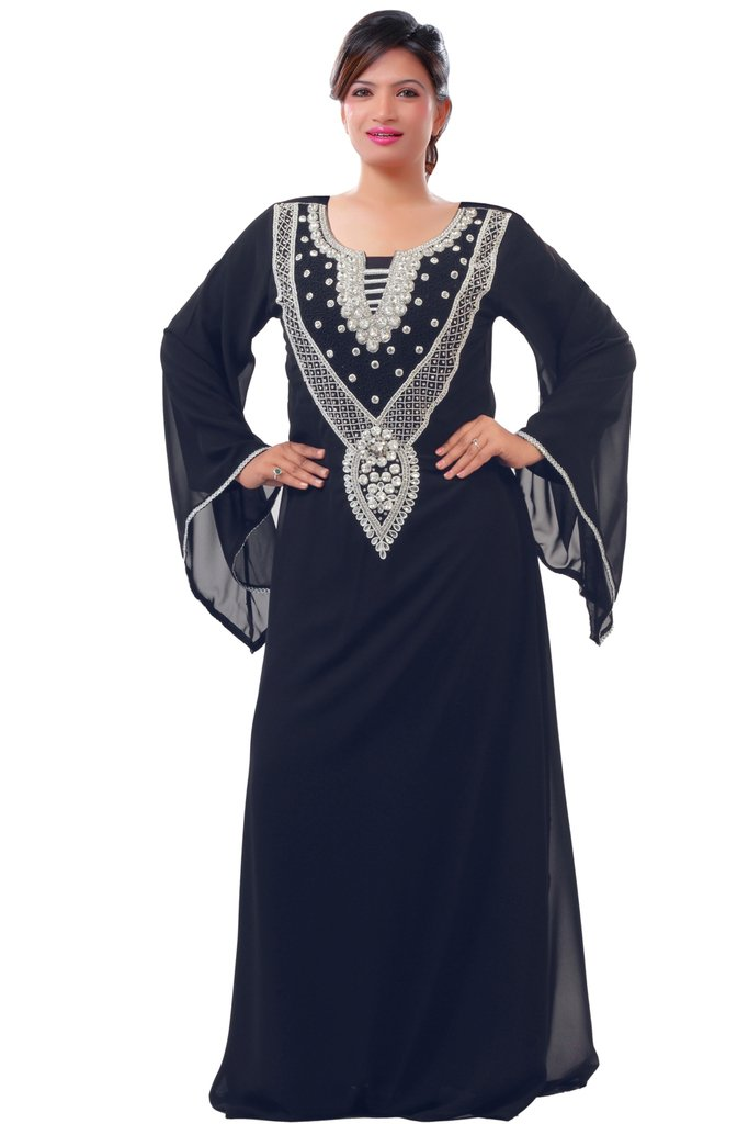 Dubai Very Fancy Kaftan Luxury Crystal Beaded Caftan Abaya Wedding Dress (XXXXL, Black)