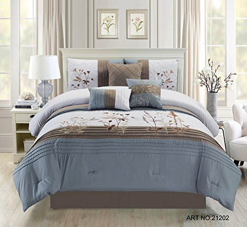 11 Peace Atwood Slate/Taupe/Gray Bed in a Bag w/500TC Cotton Sheet Set Queen (Sofs Bed)