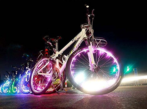Bike Wheel Lights 20 LED Colorful Light Strip, Ultra Bright AIKATE Cycling Safety Light Strings for Bicycle Spokes or Rim, Cool Bike Tire Accessory