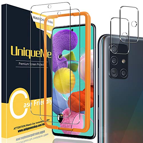 [2+2 Pack] UniqueMe Camera Lens Protector and Screen Protector for Samsung Galaxy A51 4G / 5G / 5G UW Tempered Glass…