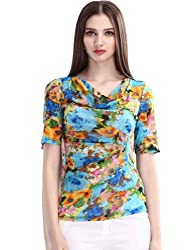 Maxchic Women's Cowl Neck Short Sleeve Pleated Floral Print Mesh Top Blouse X11123Y14M,Blue,Large
