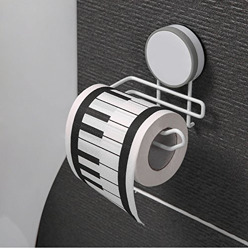 BQTime Suction Cup Toilet Paper Holder & Bracket, Modern Super Power Tissue Paper Roll Hanger, Wall Mount Bathroom Shower Bathrobe Towel Holder No Drill Waterproof Reusable, Home Organizer Accessories