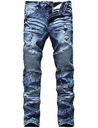 "<span class=""a-offscreen"">[Sponsored]</span>Men's Biker Moto Skinny Ripped Distressed Destroyed Fit Denim Jeans"