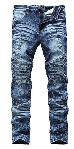 Men's Dark Blue Biker Moto Skinny Ripped Distressed Destroyed Slim Denim Jeans,Dark Blue,W33,Dark Blue,W33