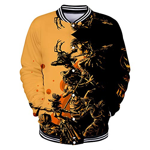 FEDULK Mens Halloween Costume Shirt 3D Digital Print Long Sleeve Button Couples Party Blouse Funny Coat(Brown2, XX-Large)
