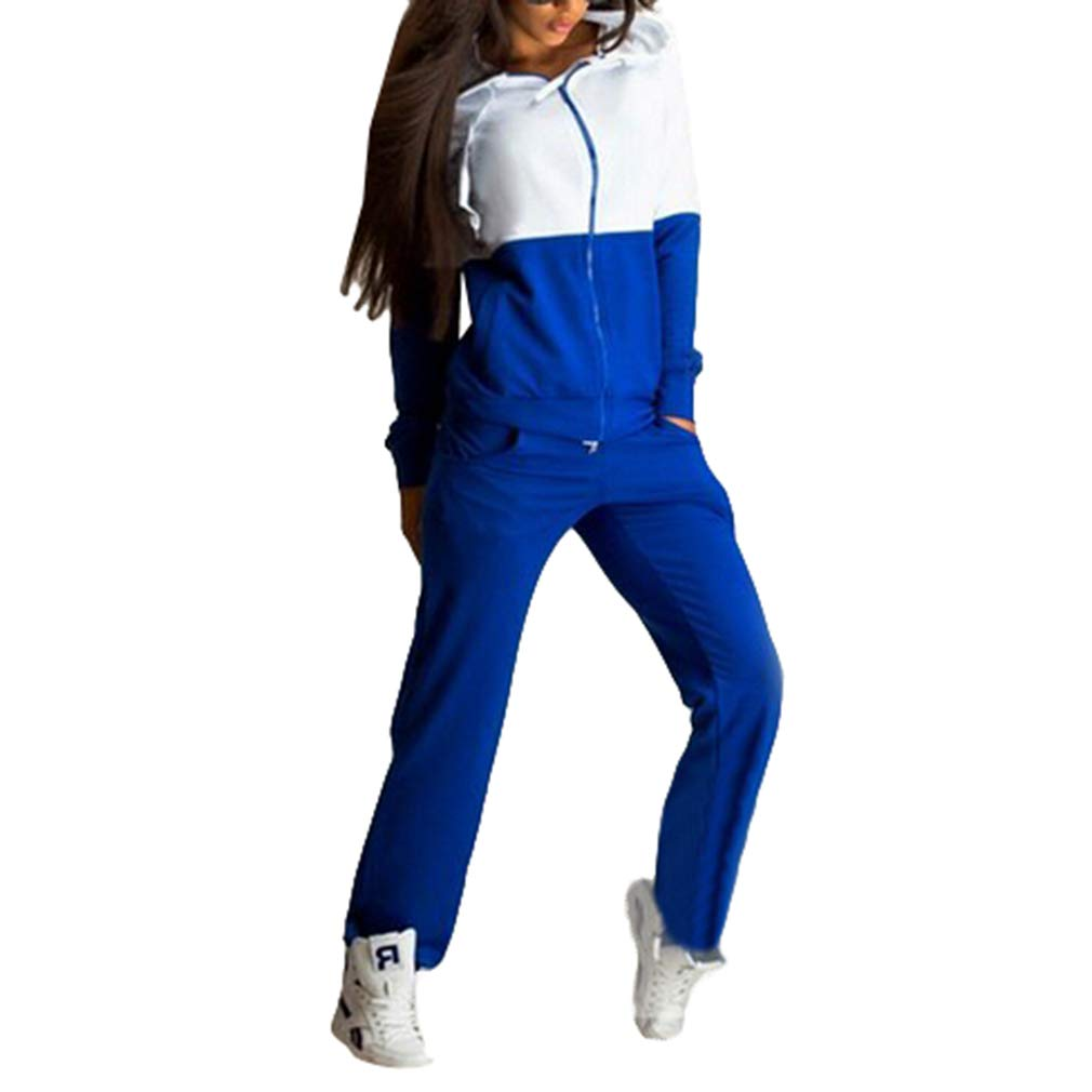 2pcs Trainingsanzug Damen Frauen, Mode Gespleiß te Farbe Reiß verschluss Jacket Tops und Lange Hose Fitness Jogginganzug Casual Sportanzug Hausanzug