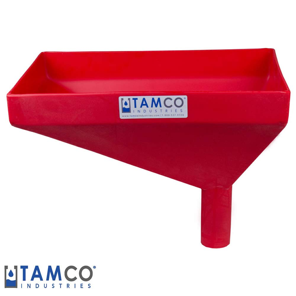 16'' x 10'' Rectangular Red Tamco Linear Low Density Plastic Funnel with 2'' OD Offset Spout (1 Funnel)