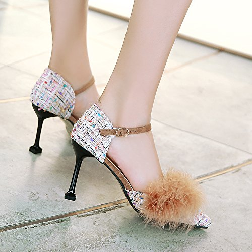 White Heels JIEEME Stiletto Sandals Women Sweet Black Ladies High White Summer Party qFwP0F