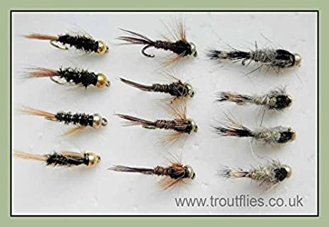 Mixed 10 to 16 12 Pack FLASH HEAD Gold Bead Hares Ear Nymph For Fly Fishing