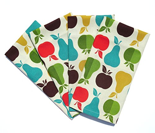 Apples and Pears Cloth Napkins, Set of 4 or 6