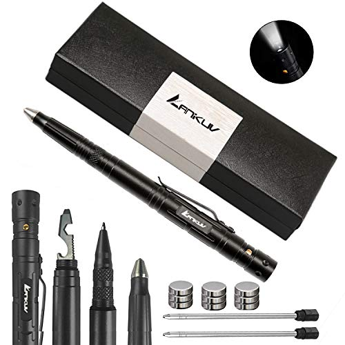 ANIKUV Tactical Survival Pen Multi Use Tactical Pen,Multi Tool, Precision Writing, Glass Breaker, LED Tactical Flashlight (Black Ink)