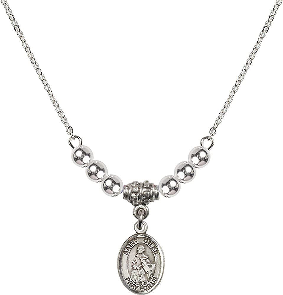 18-Inch Rhodium Plated Necklace with 4mm Sterling Silver Beads and Sterling Silver Saint Giles Charm.