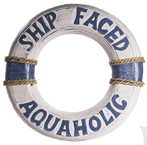 Faced Wooden Ring - World Shells Funny Nautical Decoration 12 Inch Wooden Life Ring Ship Faced Aquaholic