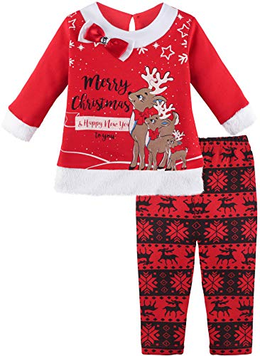 Lilax Baby Girl Reindeer Christmas Holiday Outfit Two Piece Playwear Set 9M Red]()