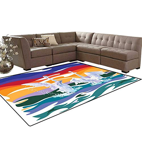 Swan Bath Mat 3D Digital Printing Mat Funky Style Image of Swan Couple Swimming in Sea Rainbow Color Sky Backdrop Modern Print Extra Large Area Rug 6'6