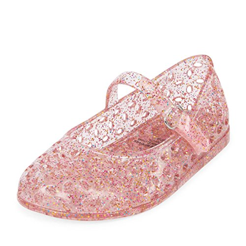 The Children's Place Girls' TG MJ Jelly Flat Sandal, Pink, TDDLR 6 Medium US Infant