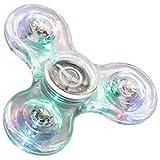 FIGROL LED Fidget Spinner,Clear LED Fidget Toy Crystal Led Light Fidget Spinner Rainbow Toy Finger Spinner Hand Spinner(Crystal)