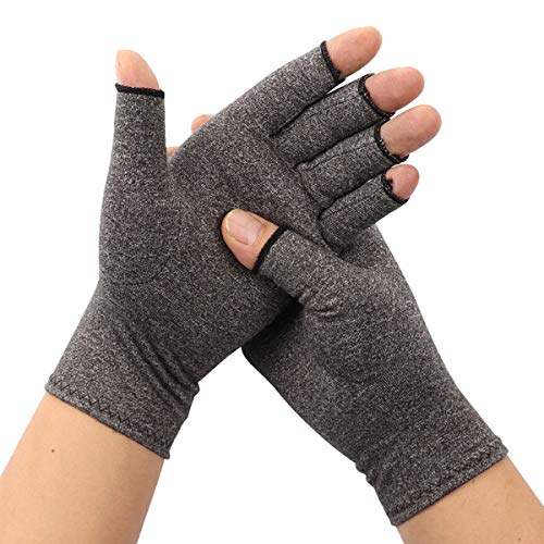 ARHSSZY 1 Pair Arthritis Compression Fingerless Gloves for Womens Mens, Joint Pain,Cold Swollen Hand Stiffness and Neuropathy Pain Relief,Improves Blood Circulation (Light Grey,Large) (Blood Circulation Medicine)