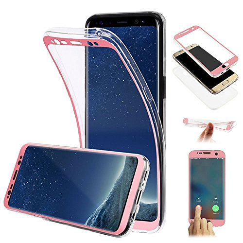 A3 Rubber (Galaxy A3 2017 Case,PHEZEN 360 Full Body Coverage Protective Ultra-Slim Front Back Soft Clear TPU Case Scratch-Resistant Silicone Rubber Case Cover for Samsung Galaxy A3 2017,Rose Gold)