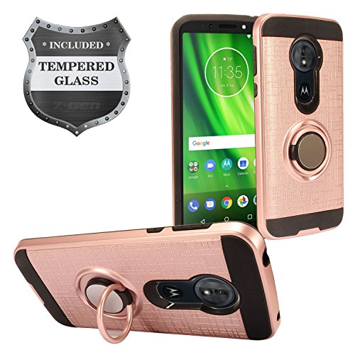 For Motorola Moto G6 Play, Moto G6 Forge XT1922 - Hybrid Hard Case w/Ring Stand + Tempered Glass Screen Protector - Black/RoseGold