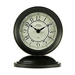 HAOFAY Retro Mantel/European Wrought Iron Metal Industrial Retro Quartz Clock Desk & Shelf Clock (Color : Black)