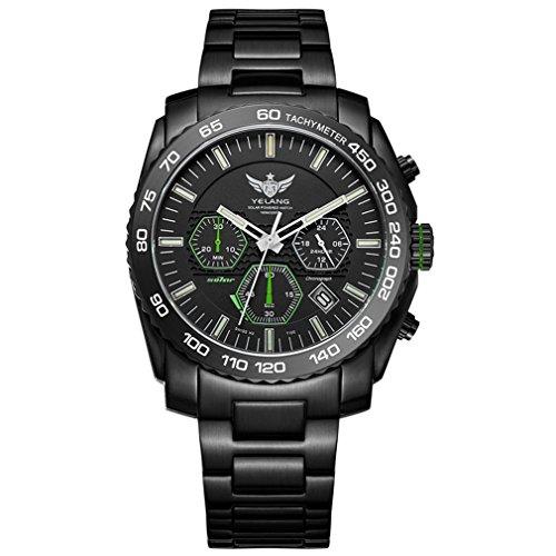 New Arrive YELANG V1210 Eco-Drive Movement T100 Tritium Luminous Steel Strap Sapphire Mirror Men Business Watch Wristwatch - Green ()