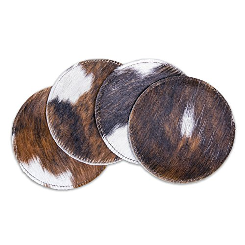 RODEO Cowhide Coaster Set 4 pcs (Leather 4 Coaster Set)