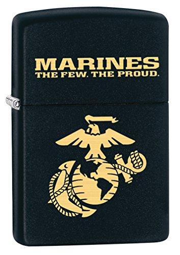 Emblem Lighter Free Gift (Zippo USMC the Few the Proud Black Matte Pocket Lighter)