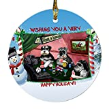 Home of Schnauzer 4 Dogs Playing Poker Photo Round Christmas Ornament