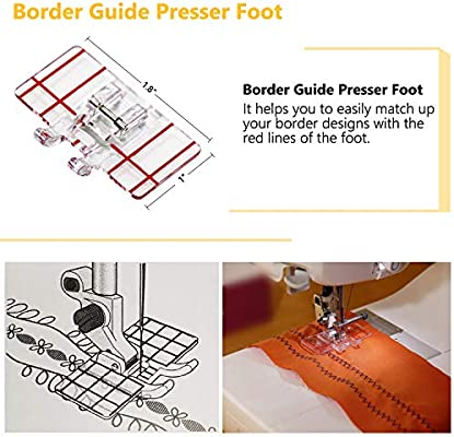 Brother and Other Low Shank Sewing Machines 6 PCS Presser Feet Set with Manual SIMPZIA Sewing Machine Foot Include Adjustable Guide//1//4 Quilting//Border Guide//Embroidery Presser Foot Kit for Singer