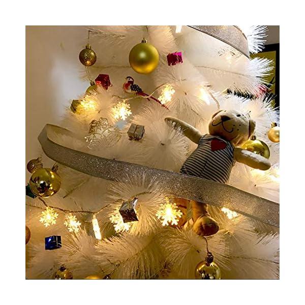 Catena Luminosa,Luci natalizie a forma di fiocco di neve,per Natale,giardino,terrazza,camera da letto,feste,interni ed esterni,luce bianca calda 6 spesavip