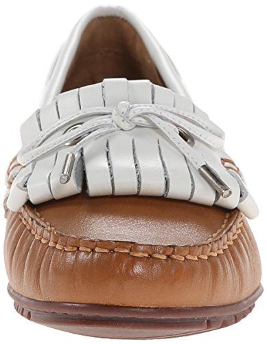 cuero Mocasines Meriden Leather de mujer Sebago White Kiltie Tan nWS717Ux