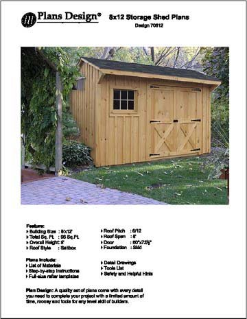 8 X 12 Saltbox Style Storage Shed Project Plans Design 70812