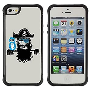 Hybrid Anti-Shock Defend Case for Apple iPhone 5 5S / Cool Pirate Artwork