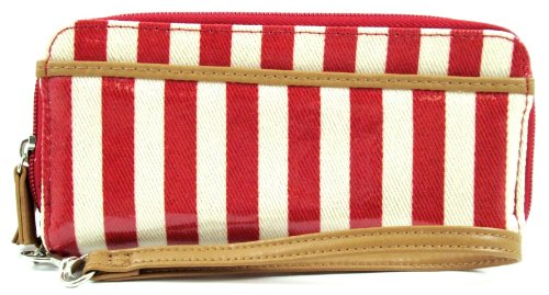 Mundi Red Stripe Nautical Double Zip Clutch Wristlet Wallet