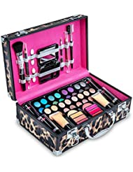 Vokai Makeup Kit Gift Set - Leopard Print Carrying Case 32 Eye Shadows 6 Lip Glosses 4 Lipsticks 2 Blushes 2 Foundations 1 Eye Liner Pencil 1 Lip Liner Pencil 1 Big Blush Brush 2 Mini Applicators