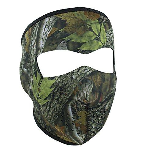 Oak Leaf Leaves Mossy Tree Camo Camoflauge Reversible to Black Neoprene Full Face Mask by Zanheadgear