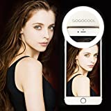 New LED Light Ring, Selfie Lighting Night Dimmable Fill light Camera Photo Spotlight & HD Video Lighting for Vblogs & with USB Charging Cable for iPhone/iPad/Android(White)