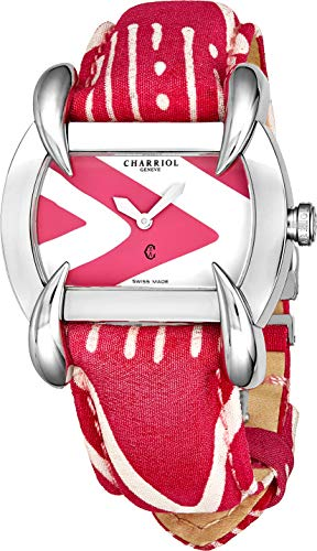 Charriol Kucha Womens Fabric Leather Band Watch - Pink and White Face with Sapphire Crystal and Unique Claw Design Lugs - Stainless Steel Swiss Made Classic Ladies Tonneau Watch KUCHTL.231.KTL007 ()